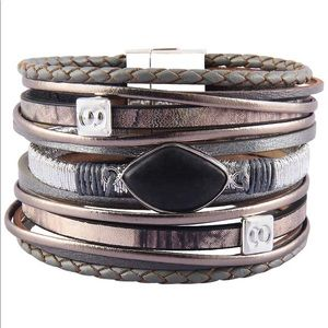 Jewelry - Boho Gray Braided Leather Wrap Bracelet
